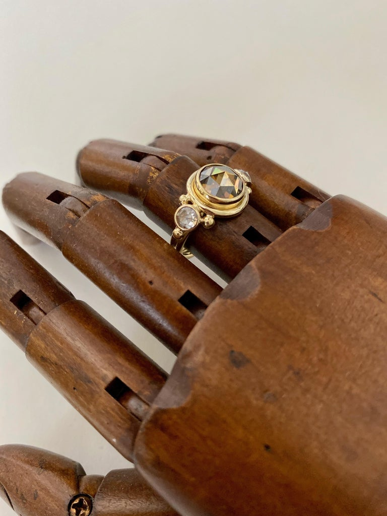 Michael Kneebone Burmese Zircon Rose Cut Diamond Archaic Style Cocktail Ring For Sale 3