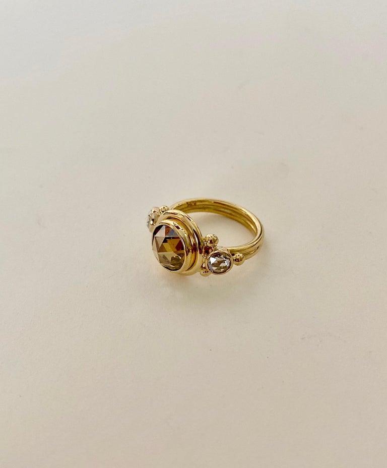 Michael Kneebone Burmese Zircon Rose Cut Diamond Archaic Style Cocktail Ring For Sale 4