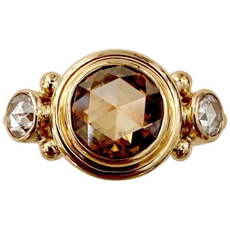 Michael Kneebone Burmese Zircon Rose Cut Diamond Archaic Style Cocktail Ring For Sale