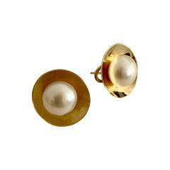 Michael Kneebone Button Pearl 18k Yellow Gold Earrings