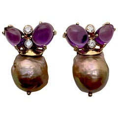 Michael Kneebone Cabochon Amethyst Diamond Japanese Pearl Drop Earrings