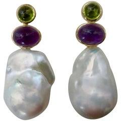 Michael Kneebone Cabochon Peridot Amethyst Baroque Pearl Drop Earrings