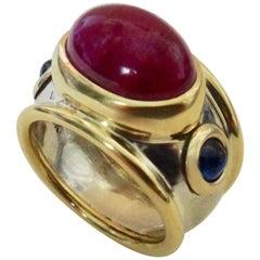 Michael Kneebone Cabochon Ruby Blue Sapphire Two-Tone Bombe Ring