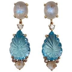 Michael Kneebone Carved Blue Topaz Moonstone Diamond Dangle Earrings