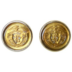 Michael Kneebone Carved Citrine Medusa Head 18 Karat Gold Cuff Links