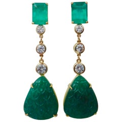 Michael Kneebone Carved Emerald and White Diamond Dangle Earrings