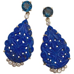 Michael Kneebone Carved Lapis Lazuli Blue Topaz Diamond Dangle Earrings