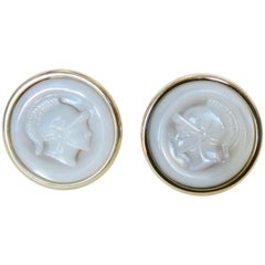 Michael Kneebone Carved Mother of Pearl Gladiator Cameo 18 Karat Gold Cufflinks