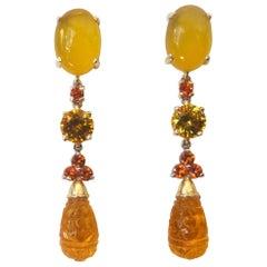 Michael Kneebone Chalcedony Mandarin Garnet Citrine Dangle Earrings