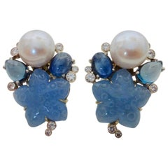 Michael Kneebone Chalcedony Sapphire Topaz Pearl Diamond Confetti Earrings