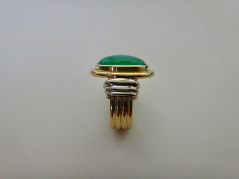 Michael Kneebone Chrysoprase Two-Tone 18 Karat Gold Ring For Sale 5