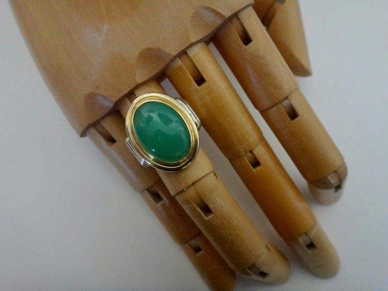 Michael Kneebone Chrysoprase Two-Tone 18 Karat Gold Ring For Sale 6