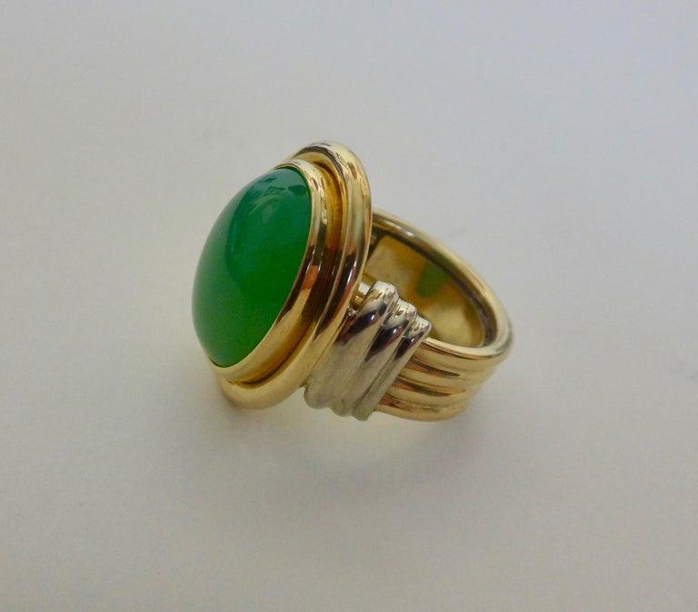 Michael Kneebone Chrysoprase Two-Tone 18 Karat Gold Ring For Sale 7