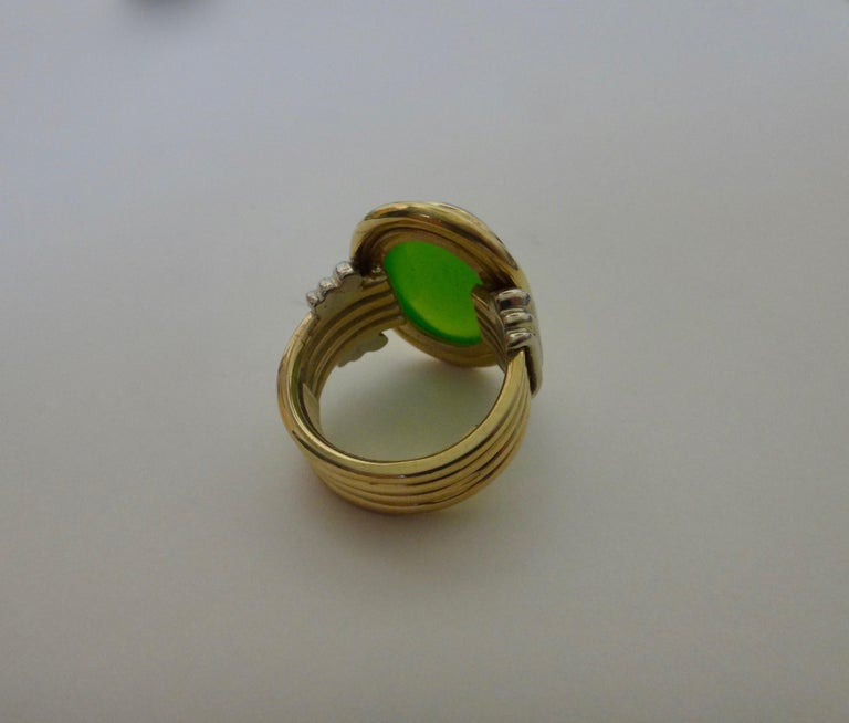 Women's or Men's Michael Kneebone Chrysoprase Two-Tone 18 Karat Gold Ring For Sale