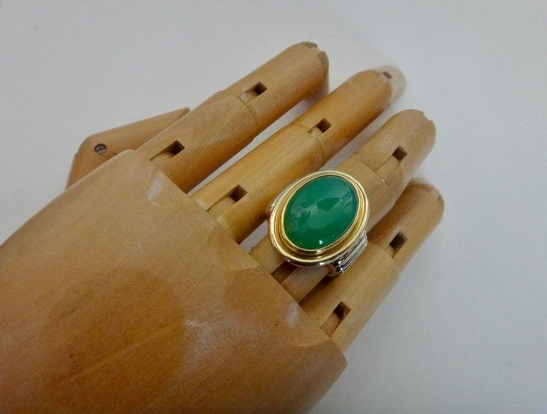 Michael Kneebone Chrysoprase Two-Tone 18 Karat Gold Ring For Sale 1