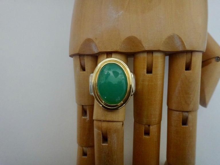 Michael Kneebone Chrysoprase Two-Tone 18 Karat Gold Ring For Sale 2