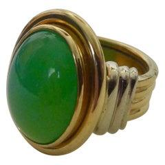 Michael Kneebone Chrysoprase Two-Tone 18 Karat Gold Ring