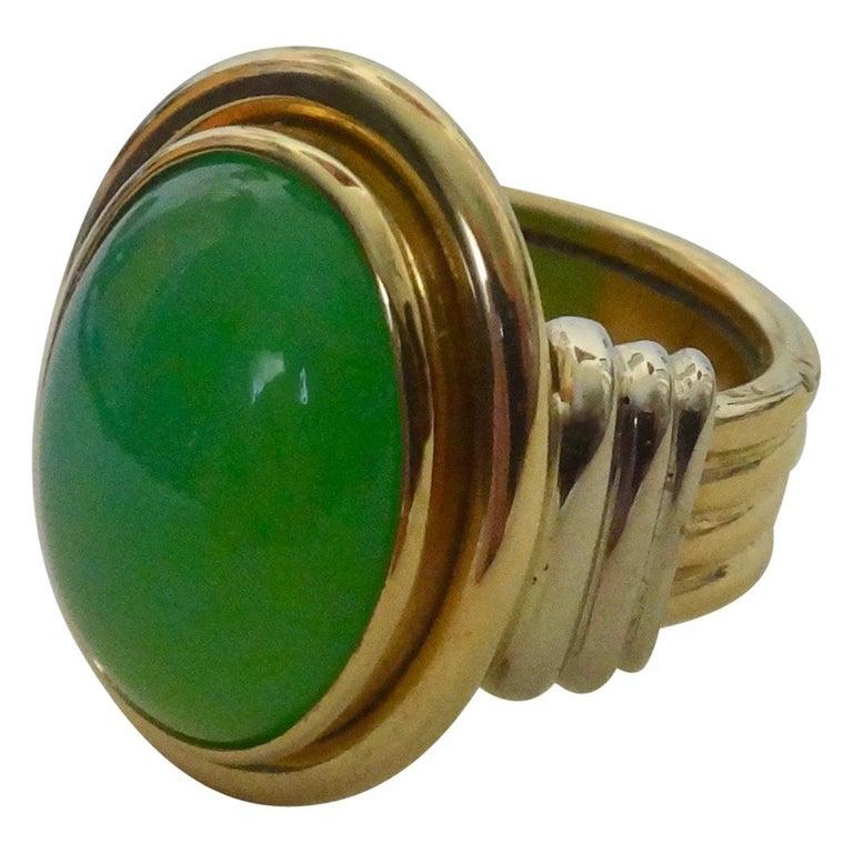 Michael Kneebone Chrysoprase Two-Tone 18 Karat Gold Ring For Sale