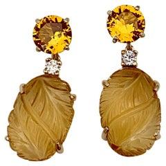 Michael Kneebone Citrine Carved Citrine White Diamond Dangle Earrings