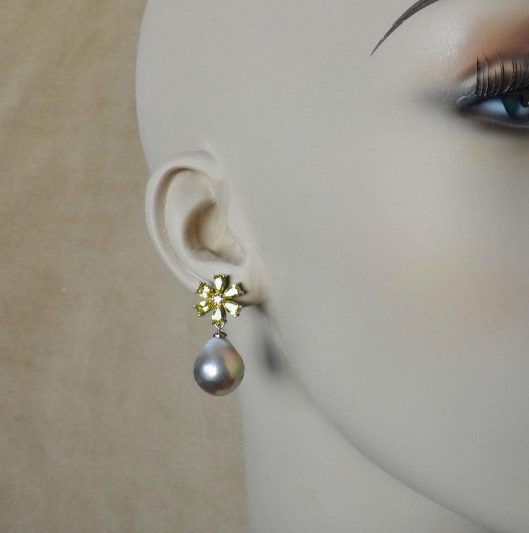 Michael Kneebone Citrine Pink Tourmaline Kasumi Pearl Flower Dangle Earrings For Sale 5