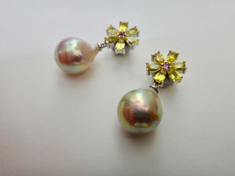 Contemporary Michael Kneebone Citrine Pink Tourmaline Kasumi Pearl Flower Dangle Earrings For Sale