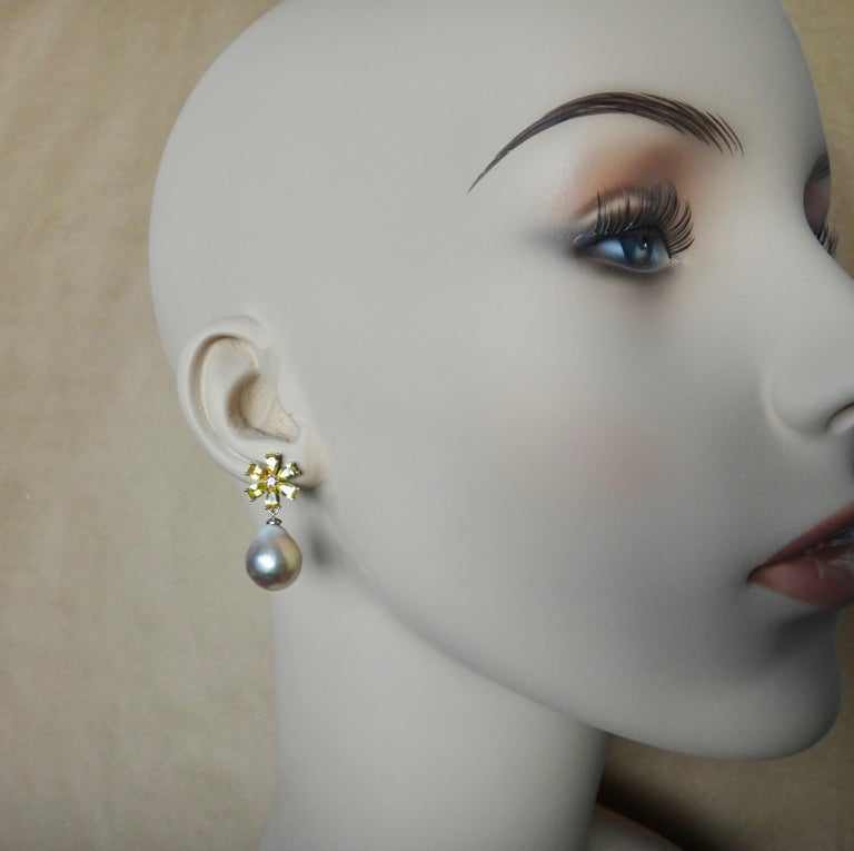 Michael Kneebone Citrine Pink Tourmaline Kasumi Pearl Flower Dangle Earrings In New Condition For Sale In Rancho Mirage, CA