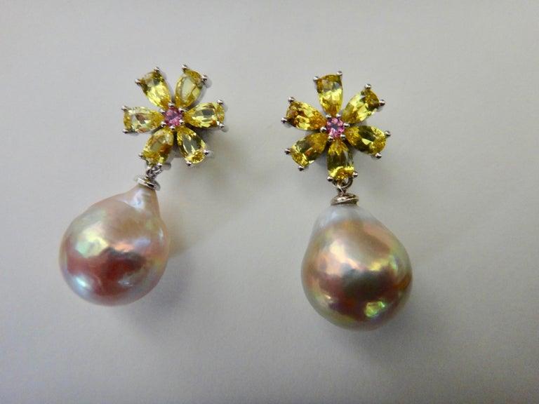 Women's Michael Kneebone Citrine Pink Tourmaline Kasumi Pearl Flower Dangle Earrings For Sale