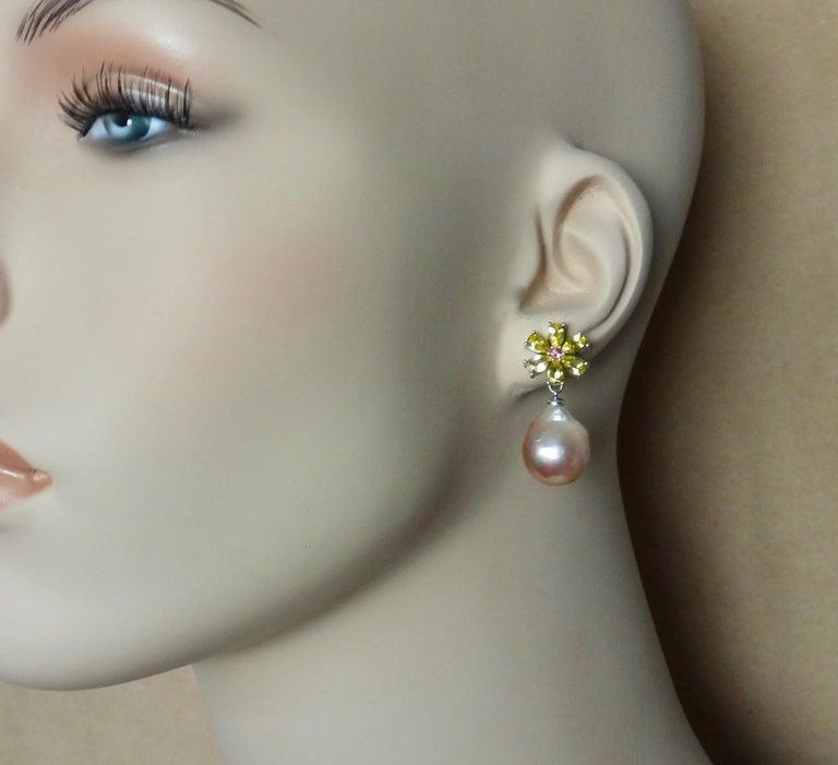 Michael Kneebone Citrine Pink Tourmaline Kasumi Pearl Flower Dangle Earrings For Sale 1