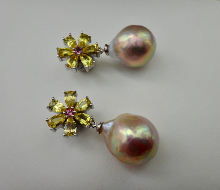 Michael Kneebone Citrine Pink Tourmaline Kasumi Pearl Flower Dangle Earrings For Sale 2