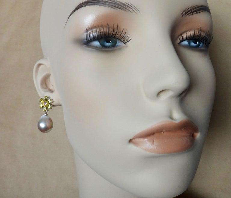 Michael Kneebone Citrine Pink Tourmaline Kasumi Pearl Flower Dangle Earrings For Sale 3