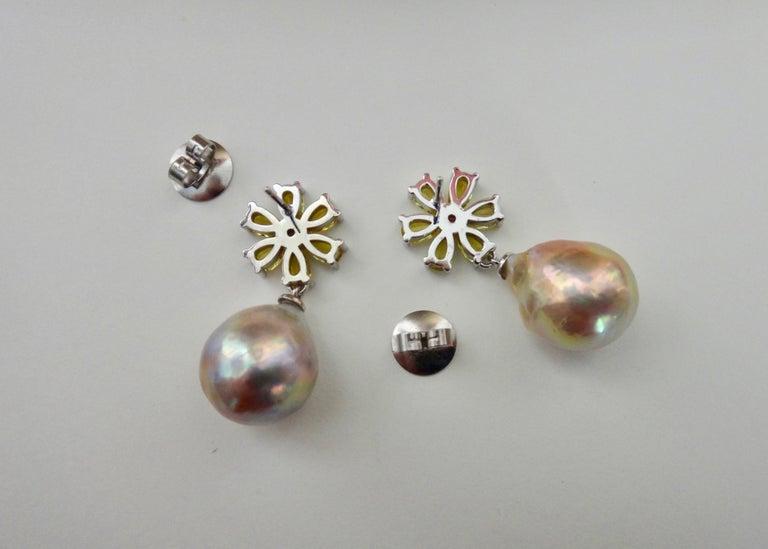Michael Kneebone Citrine Pink Tourmaline Kasumi Pearl Flower Dangle Earrings For Sale 4