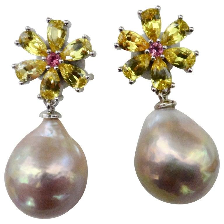 Michael Kneebone Citrine Pink Tourmaline Kasumi Pearl Flower Dangle Earrings For Sale