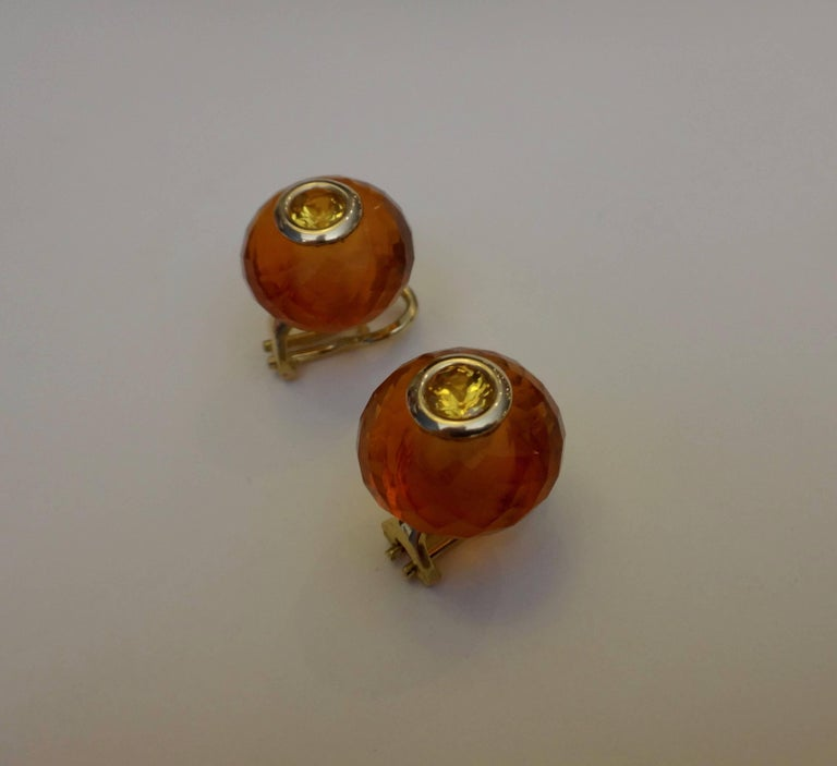 Michael Kneebone Citrine Rondelle Yellow Sapphire 18k Gold Stud Earrings For Sale 1