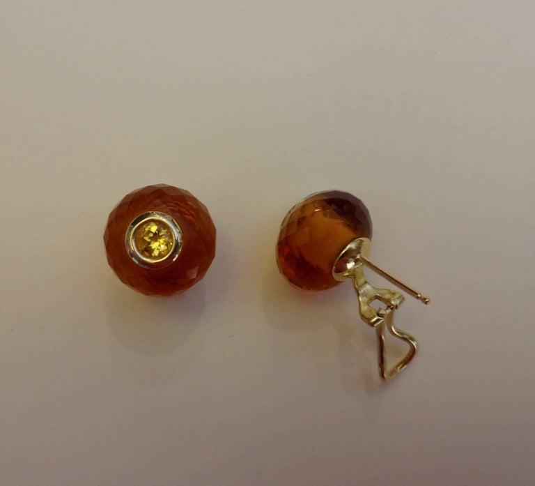 Michael Kneebone Citrine Rondelle Yellow Sapphire 18k Gold Stud Earrings For Sale 3