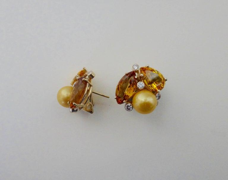 Contemporary Michael Kneebone Citrine Topaz Diamond Golden South Seas Pearl Confetti Earrings For Sale