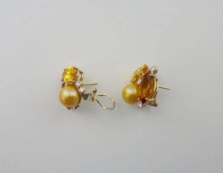 Michael Kneebone Citrine Topaz Diamond Golden South Seas Pearl Confetti Earrings In Excellent Condition For Sale In Rancho Mirage, CA