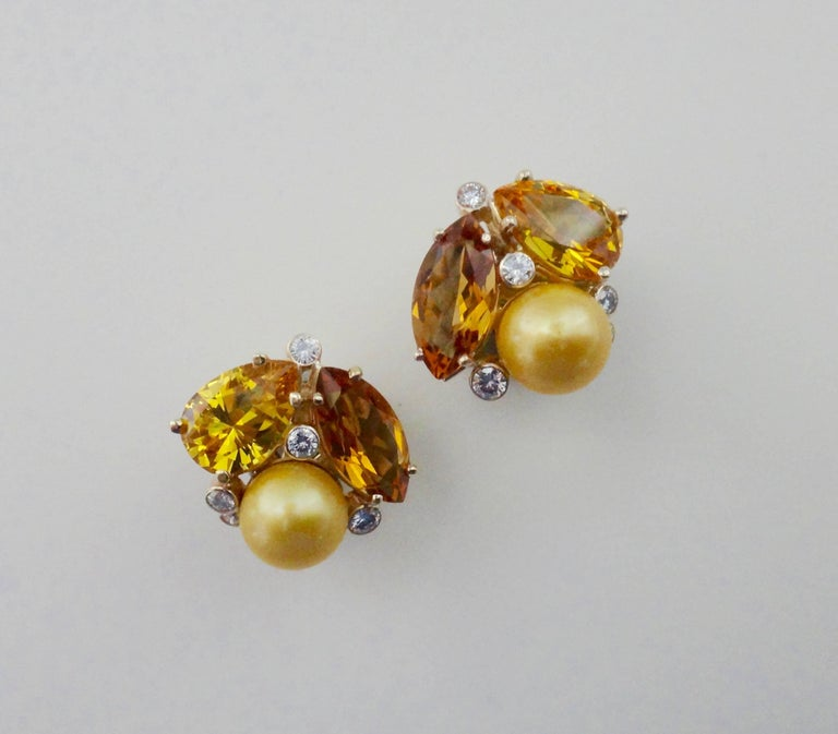 Women's Michael Kneebone Citrine Topaz Diamond Golden South Seas Pearl Confetti Earrings For Sale