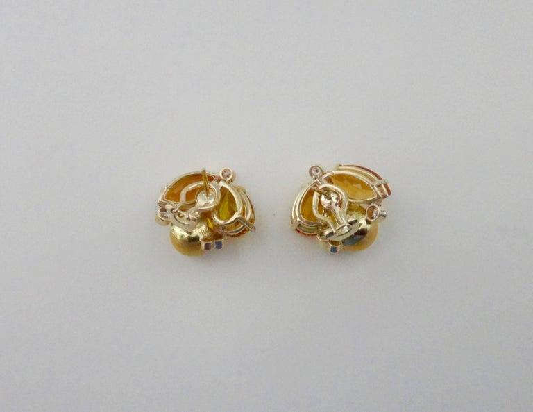 Michael Kneebone Citrine Topaz Diamond Golden South Seas Pearl Confetti Earrings For Sale 1