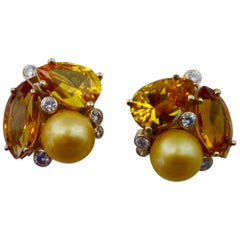 Michael Kneebone Citrine Topaz Diamond Golden South Seas Pearl Confetti Earrings