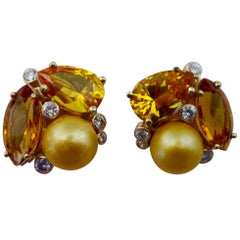 Michael Kneebone Citrine Topaz Diamond Golden South Seas Pearl Confetti Earrings
