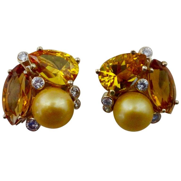 Michael Kneebone Citrine Topaz Diamond Golden South Seas Pearl Confetti Earrings For Sale