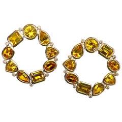 Michael Kneebone Citrine White Diamond Cirque Earrings