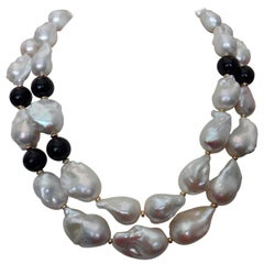 Michael Kneebone Double Strand Baroque Pearl Black Onyx Necklace