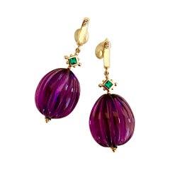 Michael Kneebone Emerald Amethyst Melon Carved Dangle Earrings