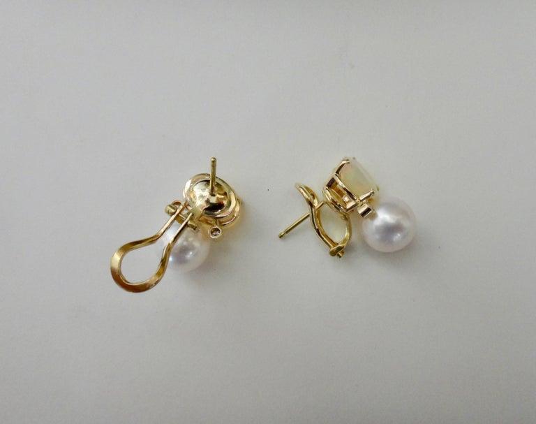 Michael Kneebone Ethiopian Opal White Diamond Cultured Pearl Earrings For Sale 5