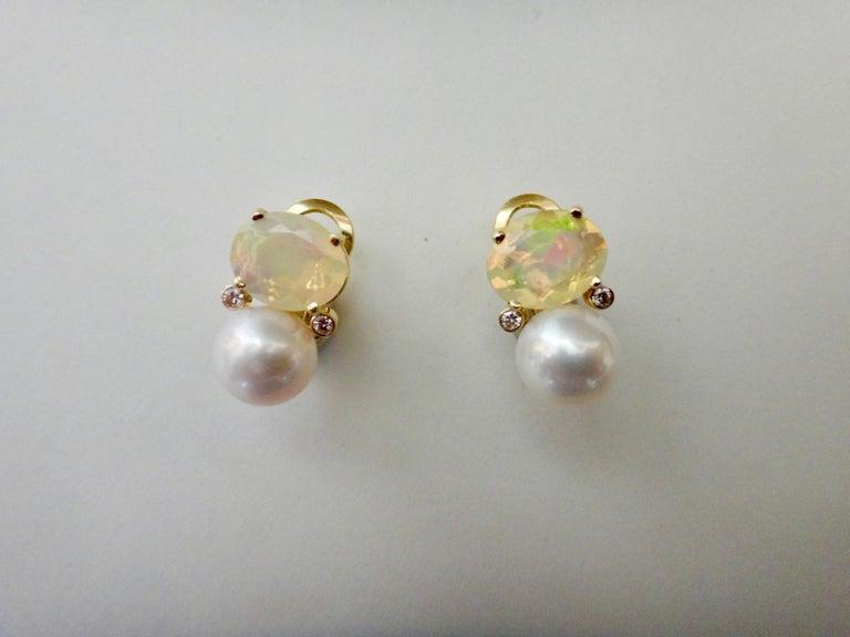 Contemporary Michael Kneebone Ethiopian Opal White Diamond Cultured Pearl Earrings For Sale