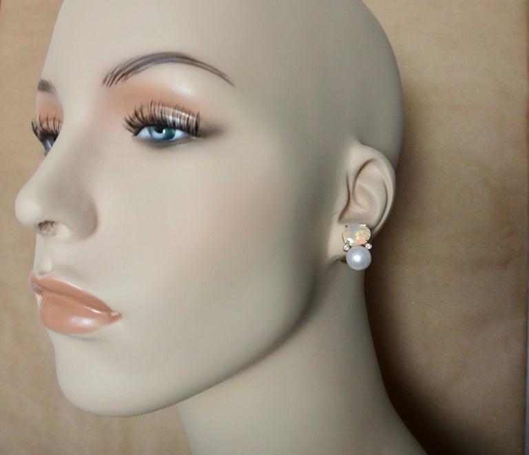 Michael Kneebone Ethiopian Opal White Diamond Cultured Pearl Earrings In New Condition For Sale In Palm Desert, CA