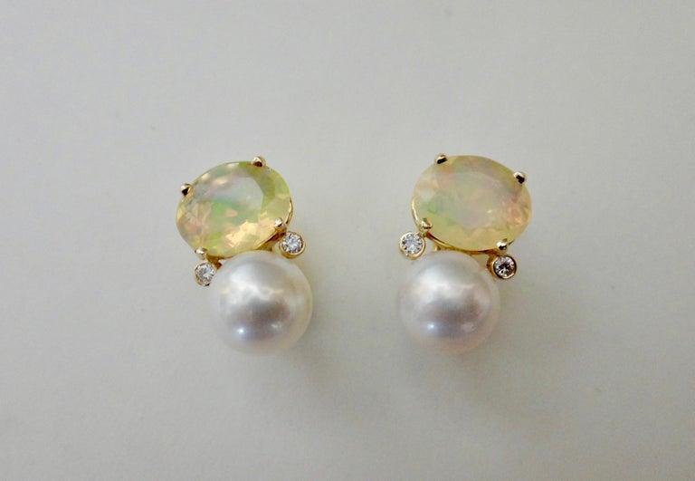 Women's Michael Kneebone Ethiopian Opal White Diamond Cultured Pearl Earrings For Sale
