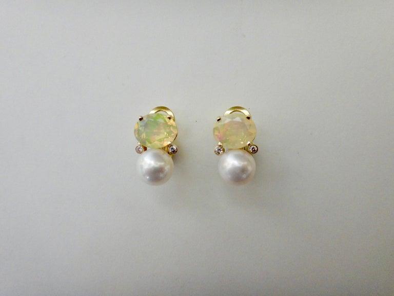 Michael Kneebone Ethiopian Opal White Diamond Cultured Pearl Earrings For Sale 1