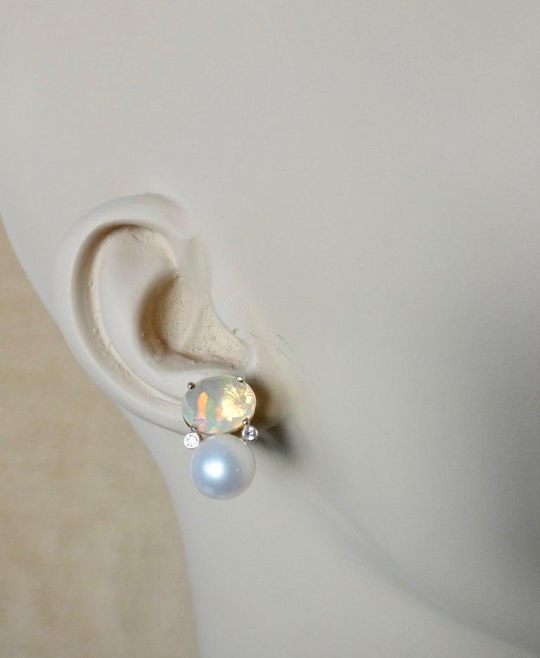 Michael Kneebone Ethiopian Opal White Diamond Cultured Pearl Earrings For Sale 2